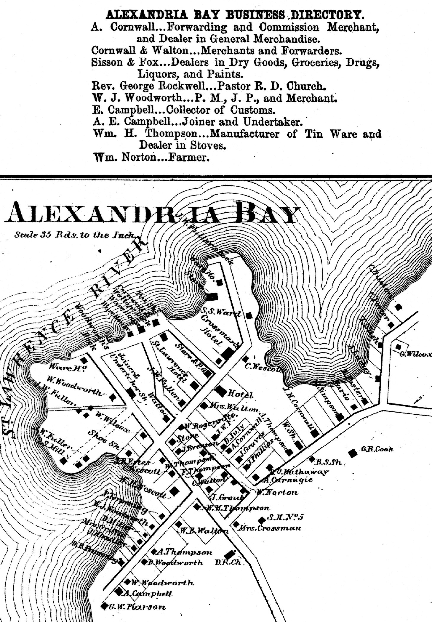 1864 Map of Alexandria Bay