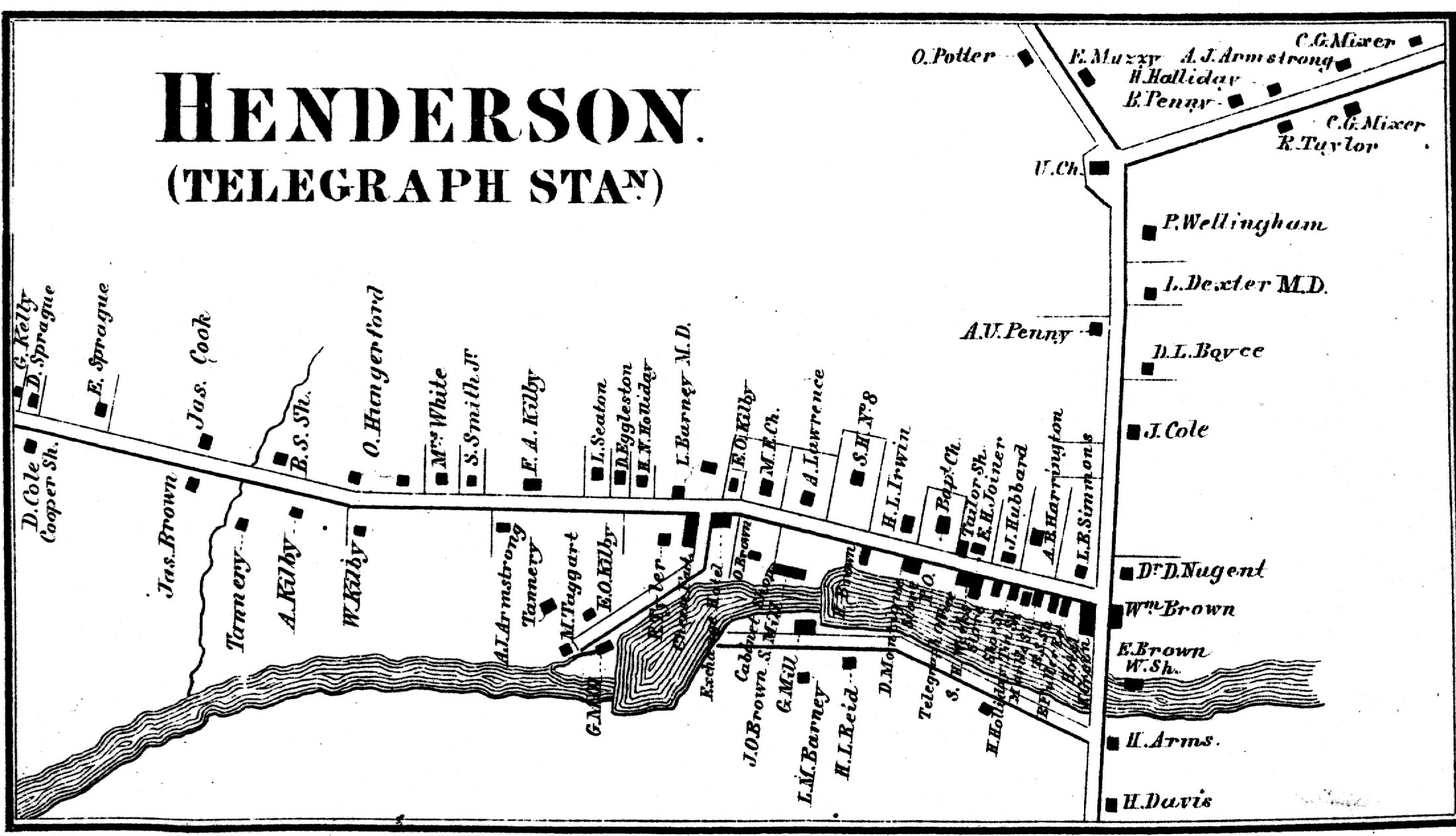 1864 Map of Henderson