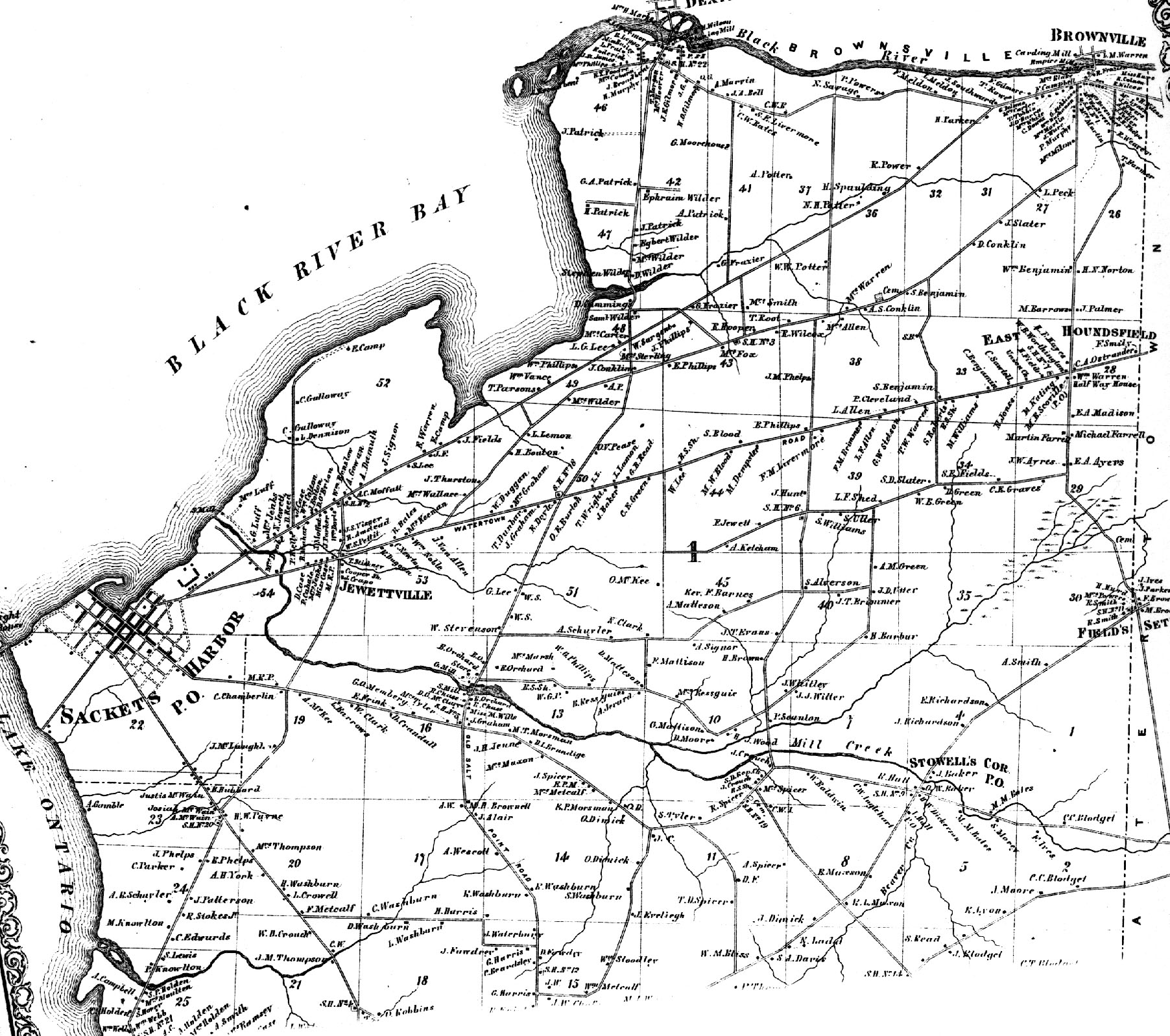 1864 Hounsfield Town Map