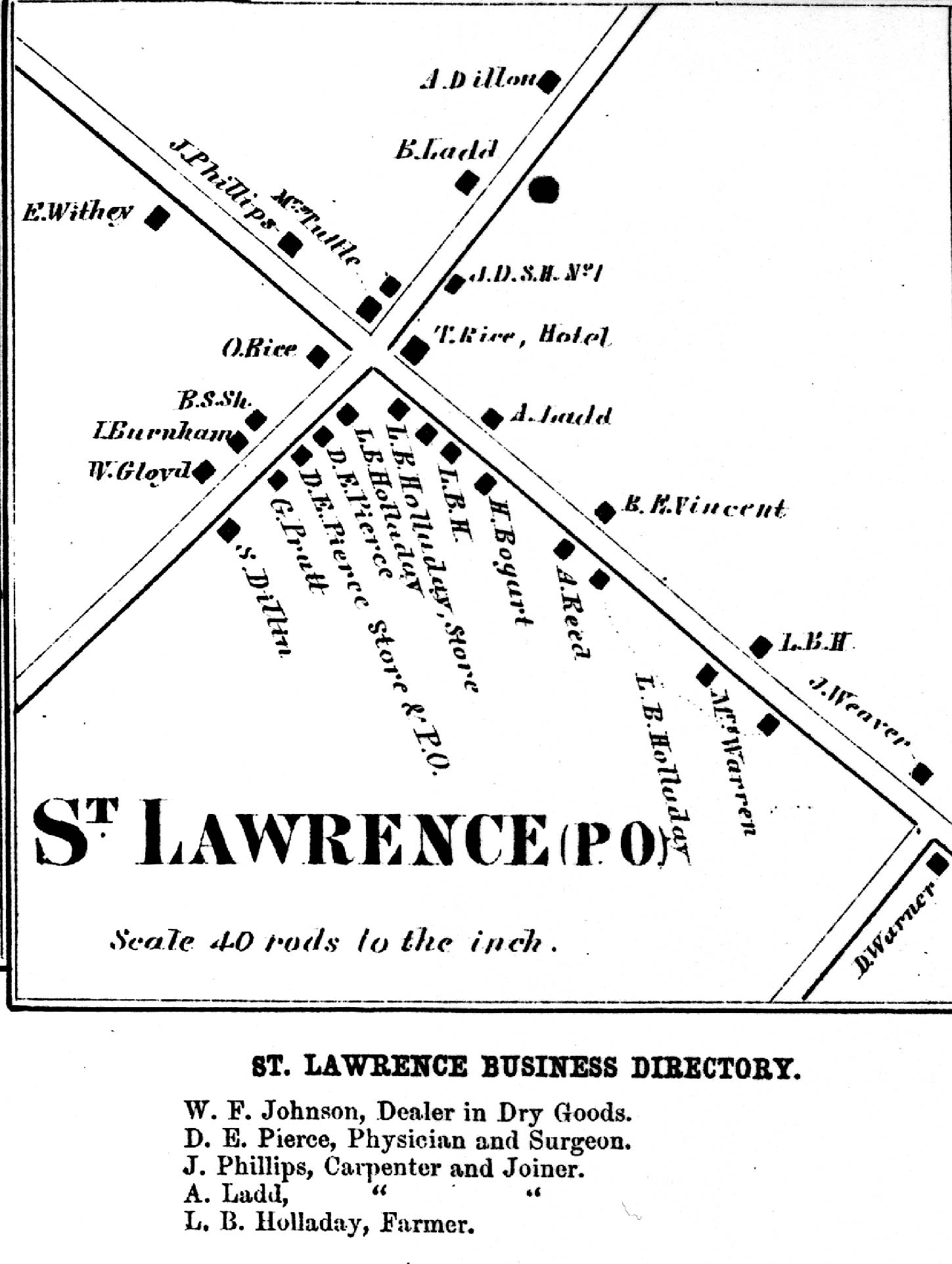 1864 Map of St. lawrence Corners
