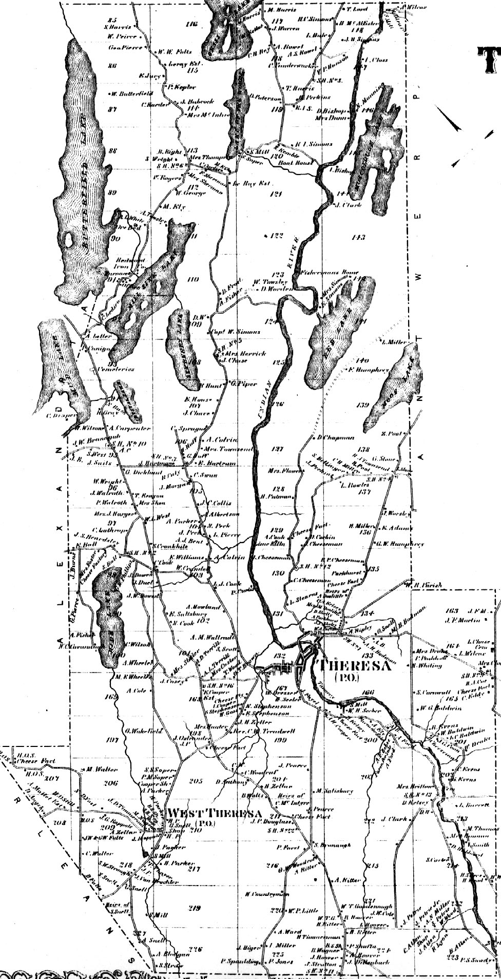 1864 Town of Theresa Map